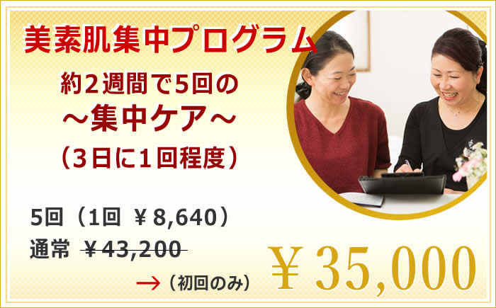 美素肌集中プログラム  通常 ¥51,408 →   ¥27,000